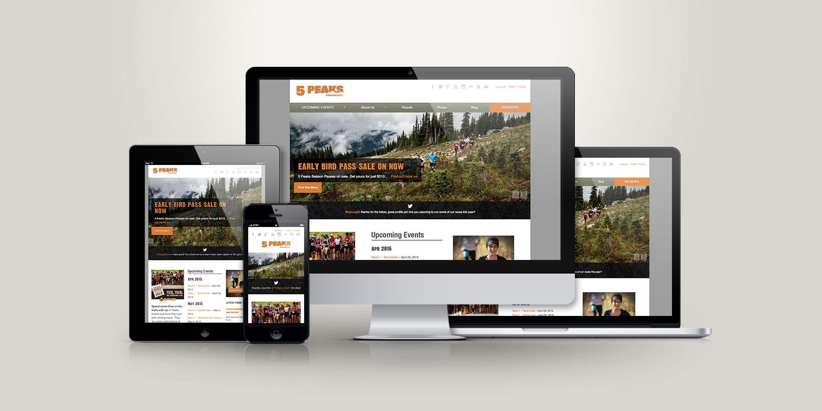 5 Peaks responsive website