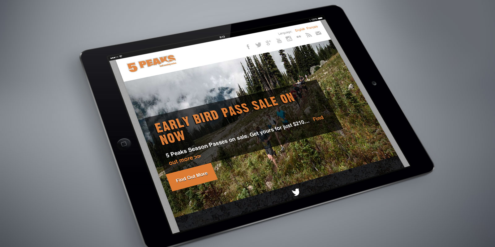 5 Peaks website on a tablet