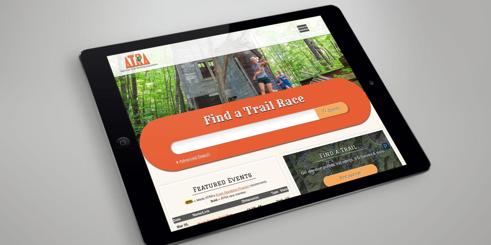 American Trail Running Association website on a tablet