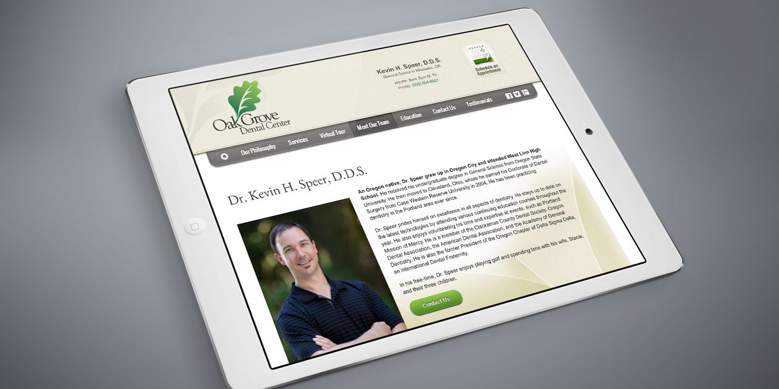 Oak Grove Dental Center website on a tablet