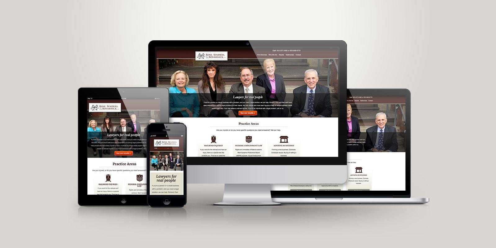 Rose, Sender, and Bovarnick responsive website