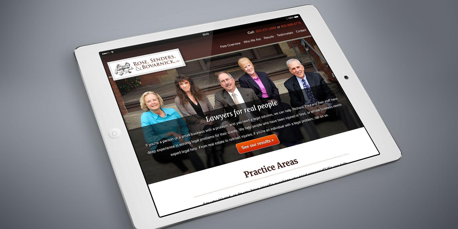 Rose, Sender, and Bovarnick website on a tablet