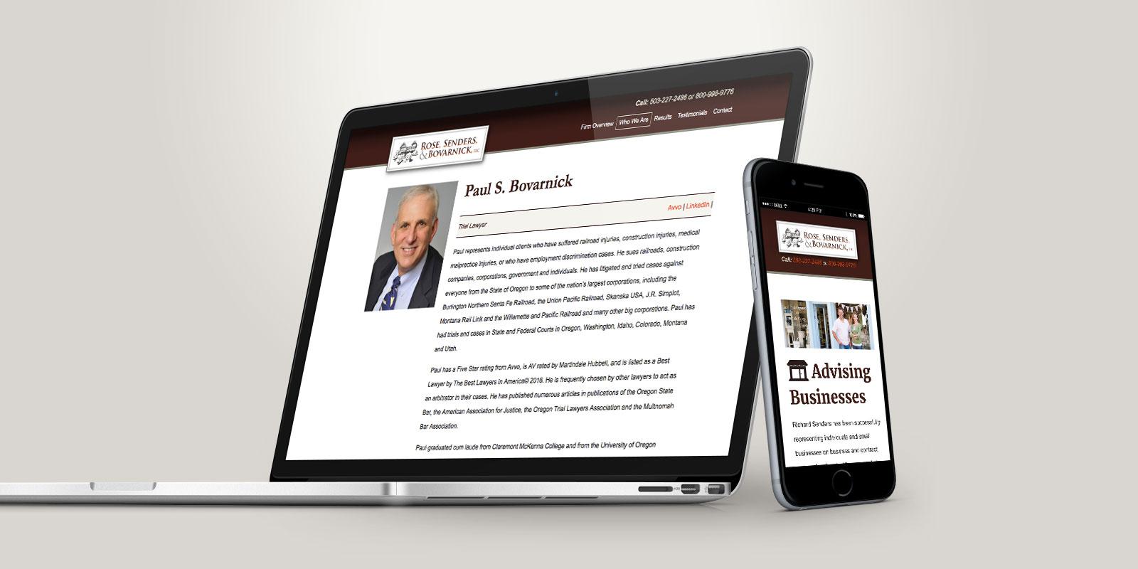 Rose, Sender, and Bovarnick website