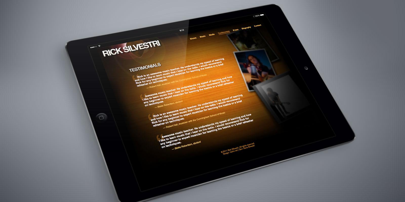 Rick Silvestri website on a tablet